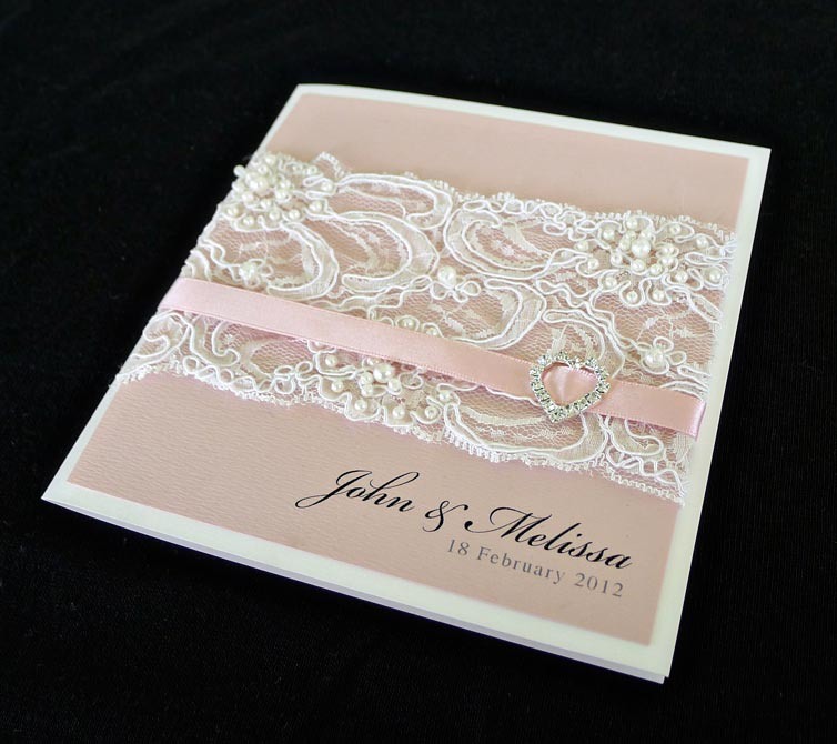 lace pearls pink romantic wedding invitation